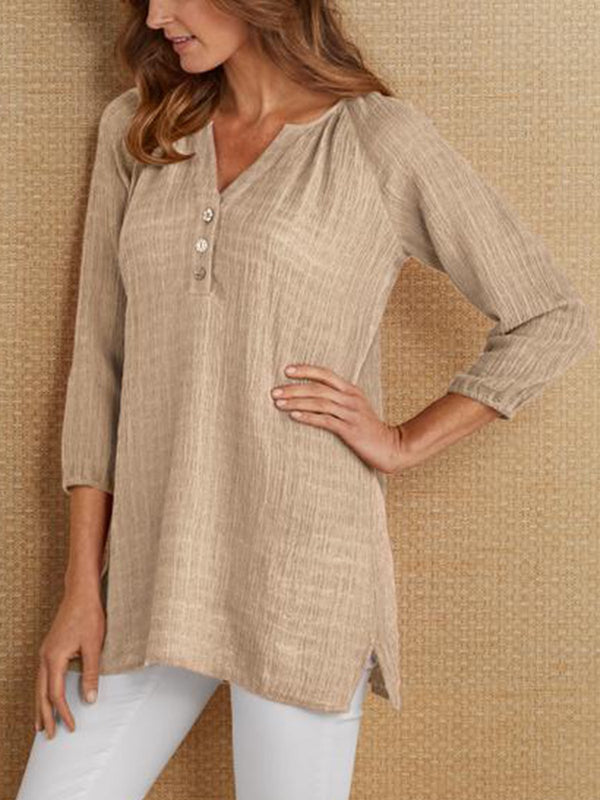 3/4 Sleeve V Neck Linen Casual Shirts & Tops  | elledress