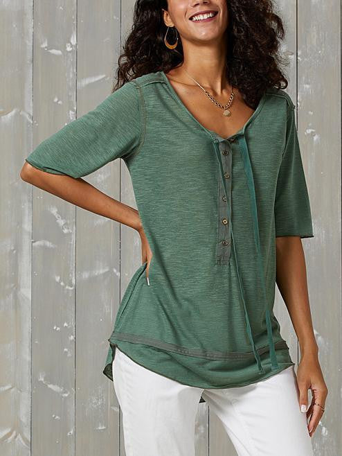 Army Green Casual V Neck Cotton-Blend Half Sleeve Shirts & Tops