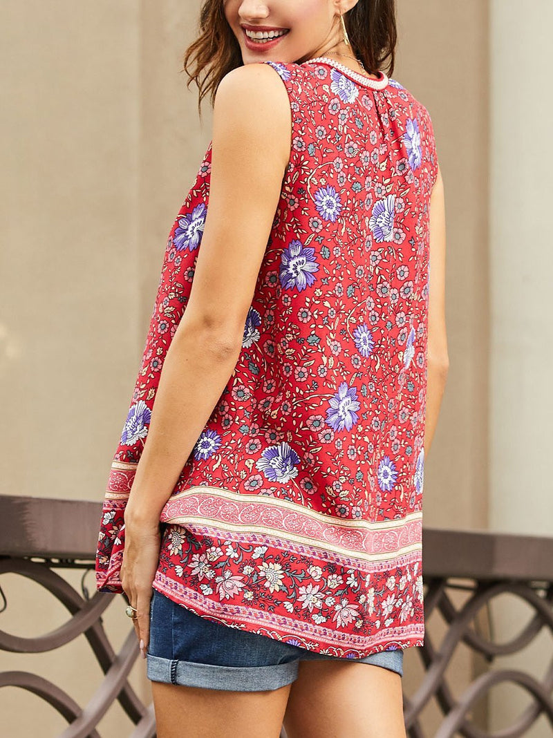 Red Sleeveless Floral V Neck Shirts & Tops