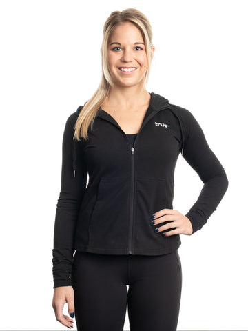 Womens Signature Zip Through Hoodie - Black [colour: Black]