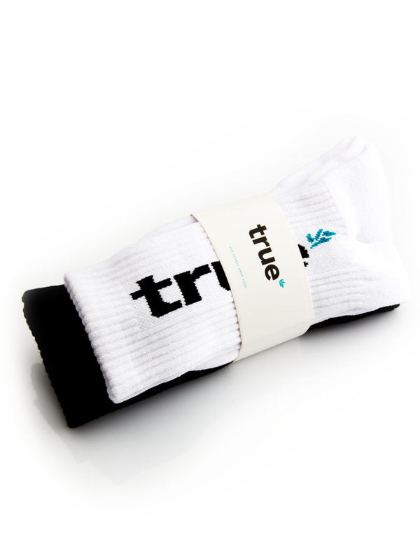 Signature Sports Crew Socks (Pair) - Black/White