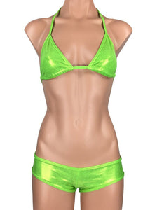 Women's Micro Scrunch Booty Shorts Dance Set in Glossy Lime Green - ShopMoola