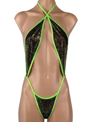 Women's Slingshot Tear Drop Lace Up G-String Thong in Sheer Lime Green Mesh