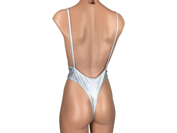 Women's Monokini Deep V Thong One Piece in Sparky White - ShopMoola