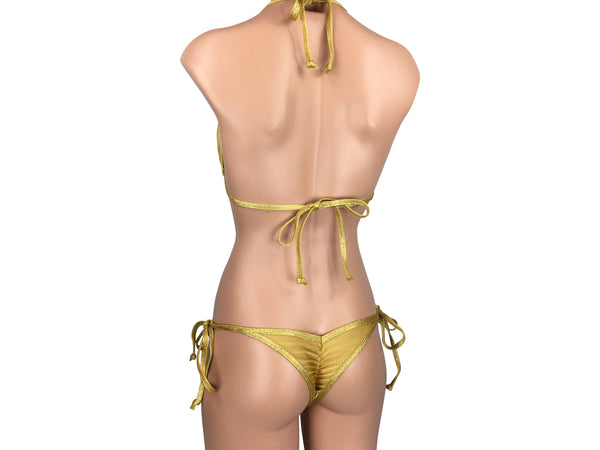 Women's Cheeky Scrunch Back String Tie Bikini Set in Gold with Trim - ShopMoola