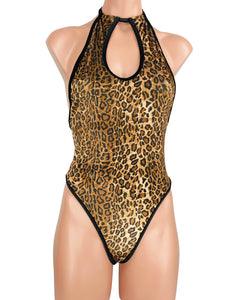 Women's High Cut Monokini Keyhole Thong One Piece in Jaguar Velvet with Trim