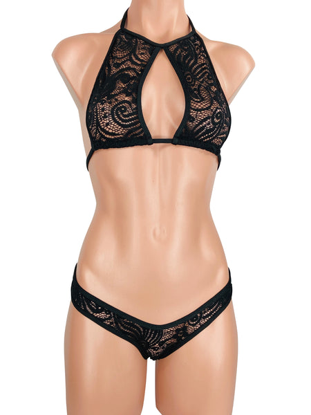 Women's Cutout Halter Cheeky Band Brazilian Thong Set in See Through Black Cyclone Lace