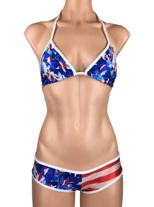 Women's Micro Scrunch Booty Shorts Dance Set in Patriotic Red White Blue Metallic - ShopMoola