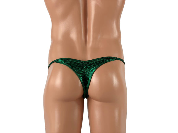 Saddle Scrunch Men's Low Rise Bikini in Sparkly Dark Green - ShopMoola