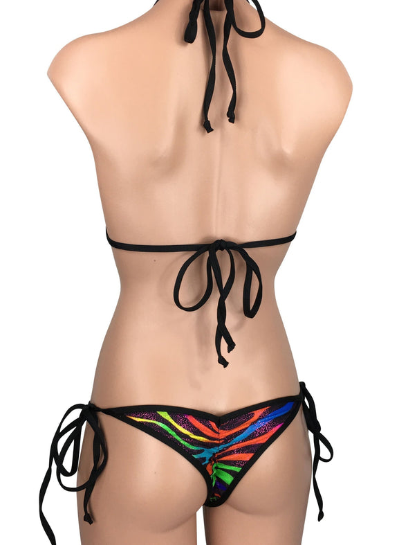 Women's Cheeky Scrunch Back String Tie Bikini Set in Neon Multi Color Metallic Zebra Print