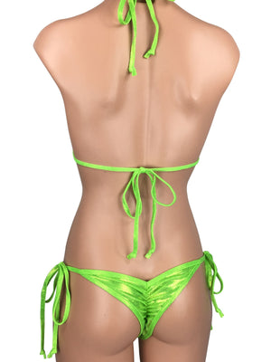 Women's Cheeky Scrunch Back String Tie Bikini Set in Glossy Lime Green