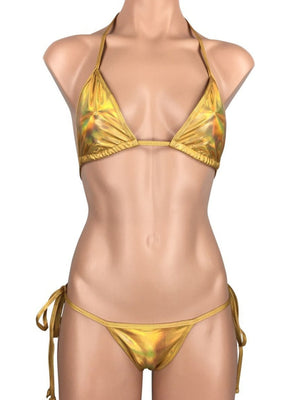 Women's Cheeky Scrunch Back String Tie Bikini Set in Iridescent Gold