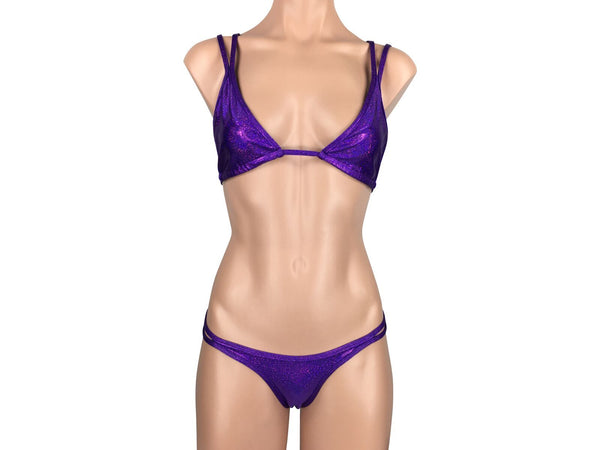 Women's Double Strap Halter Brazilian Thong Bikini Set in Sparkly Purple - ShopMoola