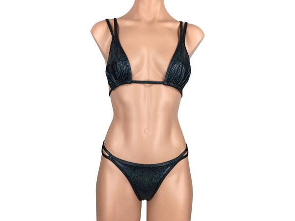 Women's Double Strap Halter Brazilian Thong Bikini Set in Sparkly Black - ShopMoola
