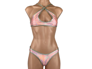 Women's Criss Cross Sports Bra Dance Set in Bullseye Coral Metallic