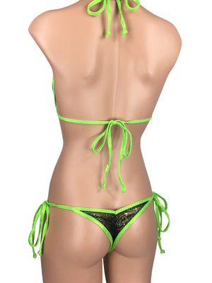 Women's Mini Scrunch Back String Tie Bikini Set in Sheer Lime Green Mesh