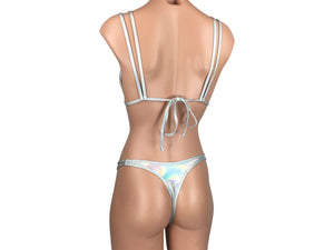 Women's Double Strap Halter Brazilian Thong Bikini Set in Iridescent Silver