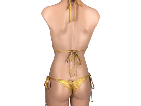 Women's Mini Scrunch Back String Tie Bikini Set in Iridescent Gold - ShopMoola