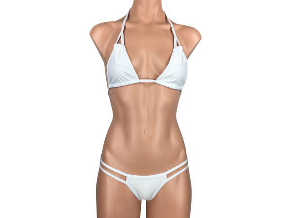 Women's Cut-Out Triangle Scrunch Bikini Set in Rave White - ShopMoola