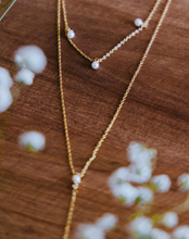 Load image into Gallery viewer, Pearl Layered Lariat Necklace