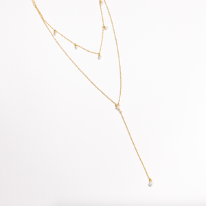 Pearl Layered Lariat Necklace