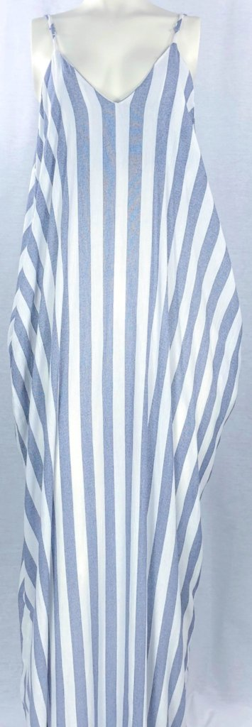 Blue Stripe Maxi Sundress - with pockets!!