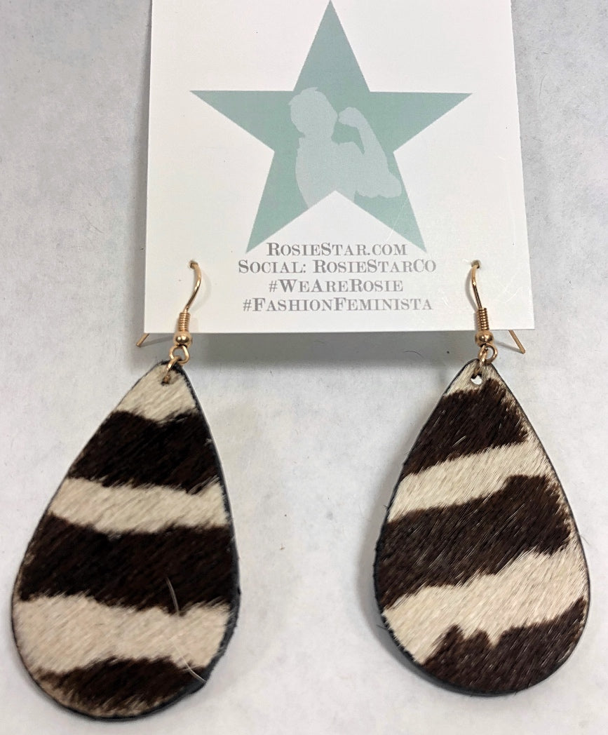 Vegan Cowhide Leather Earrings