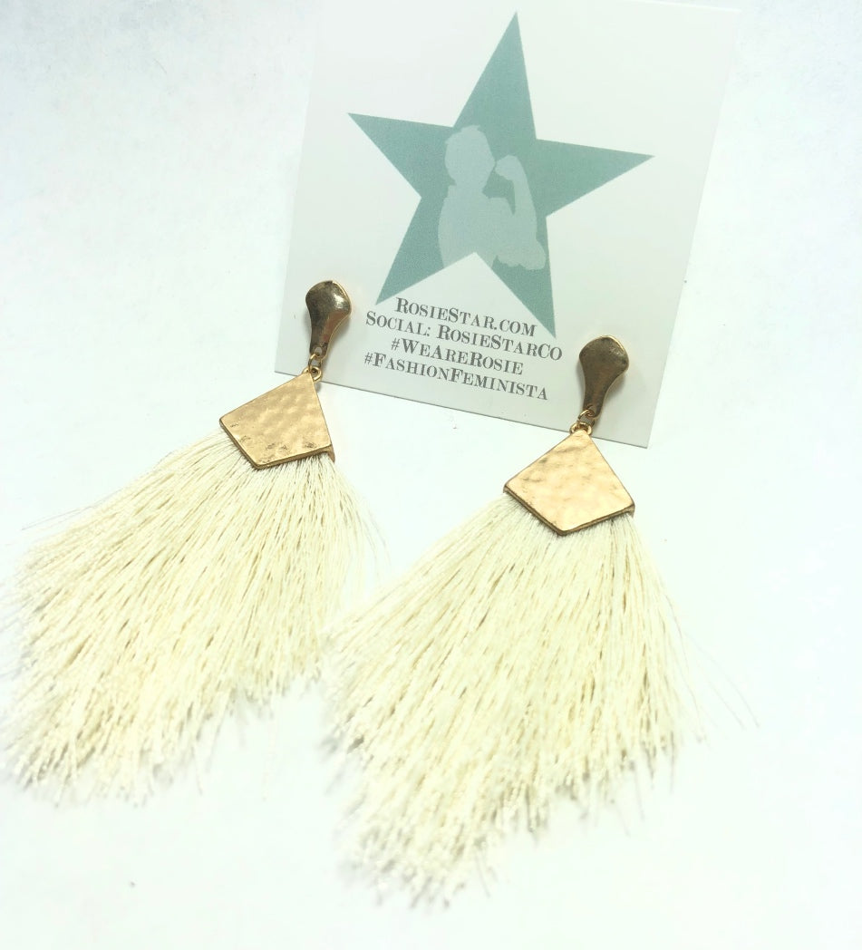 Gold Tassle Earrings - Teal, Cream and Coral