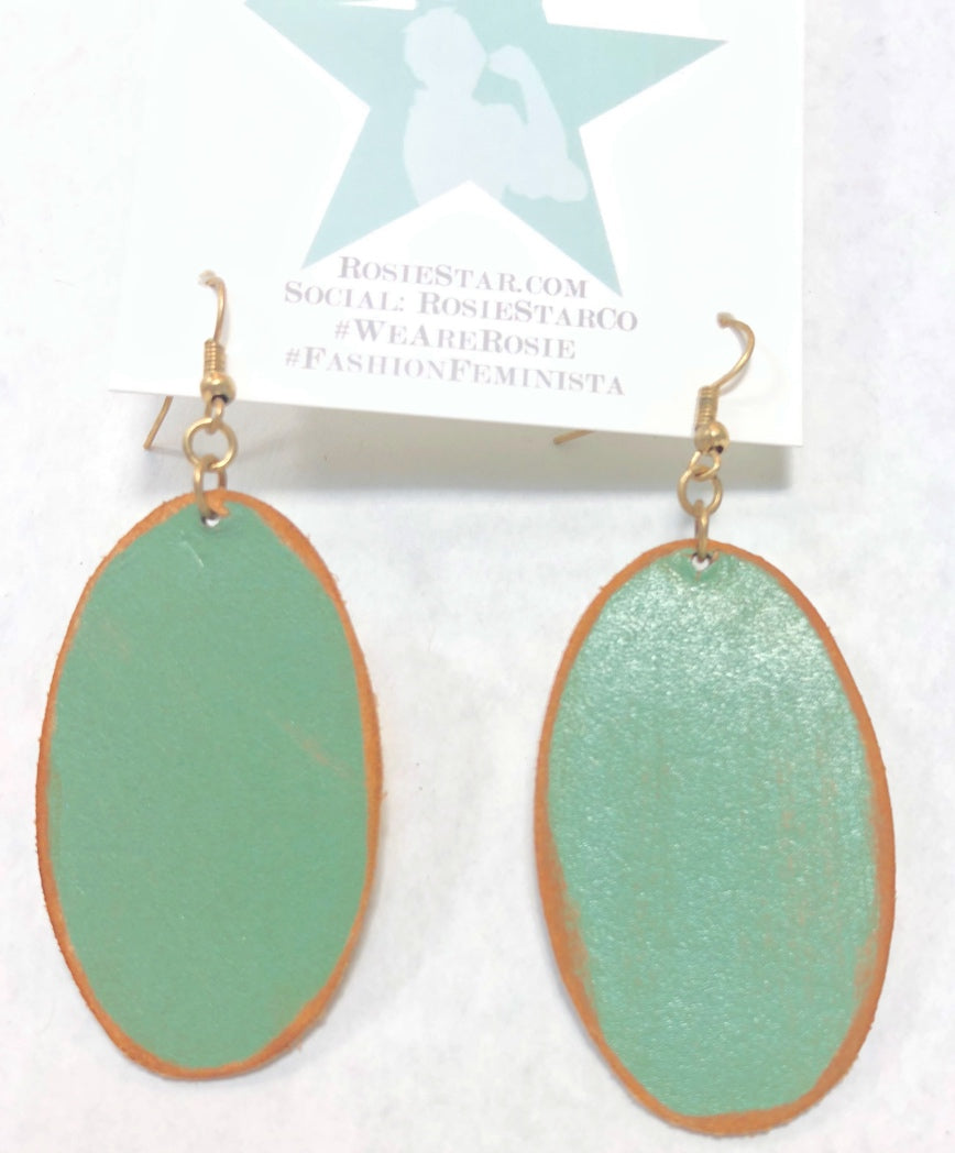 Oval Leather Drop Earrings - Maroon & Green