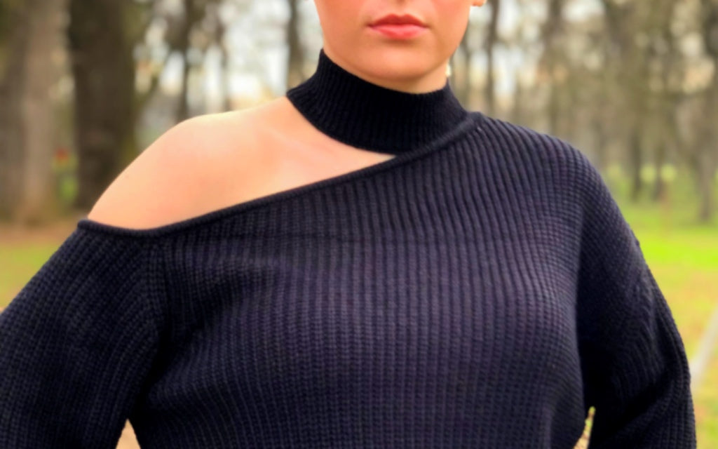 Cold Shoulder Choker Sweater