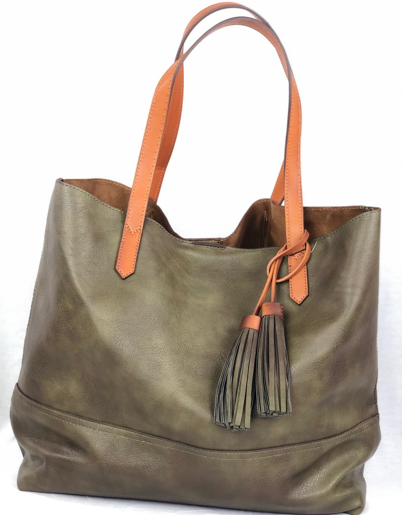 Street Level Vegan Textured Satchel - Multiple Colors