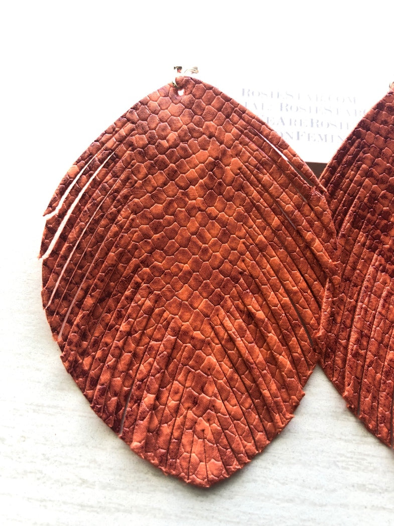 Orange Leather Earrings