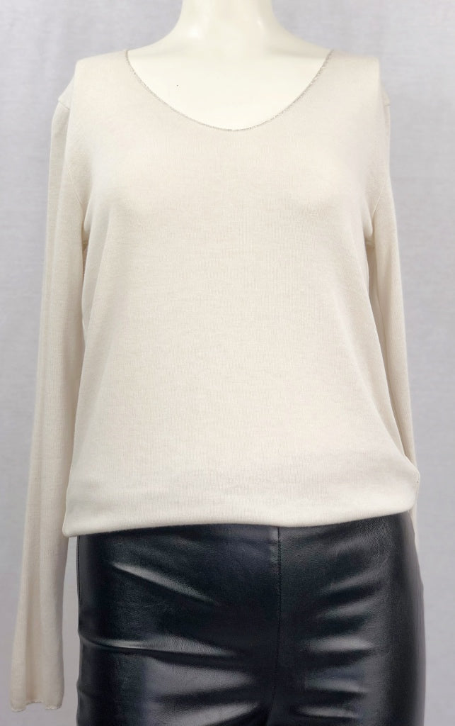Long Sleeve Cream Pullover Top