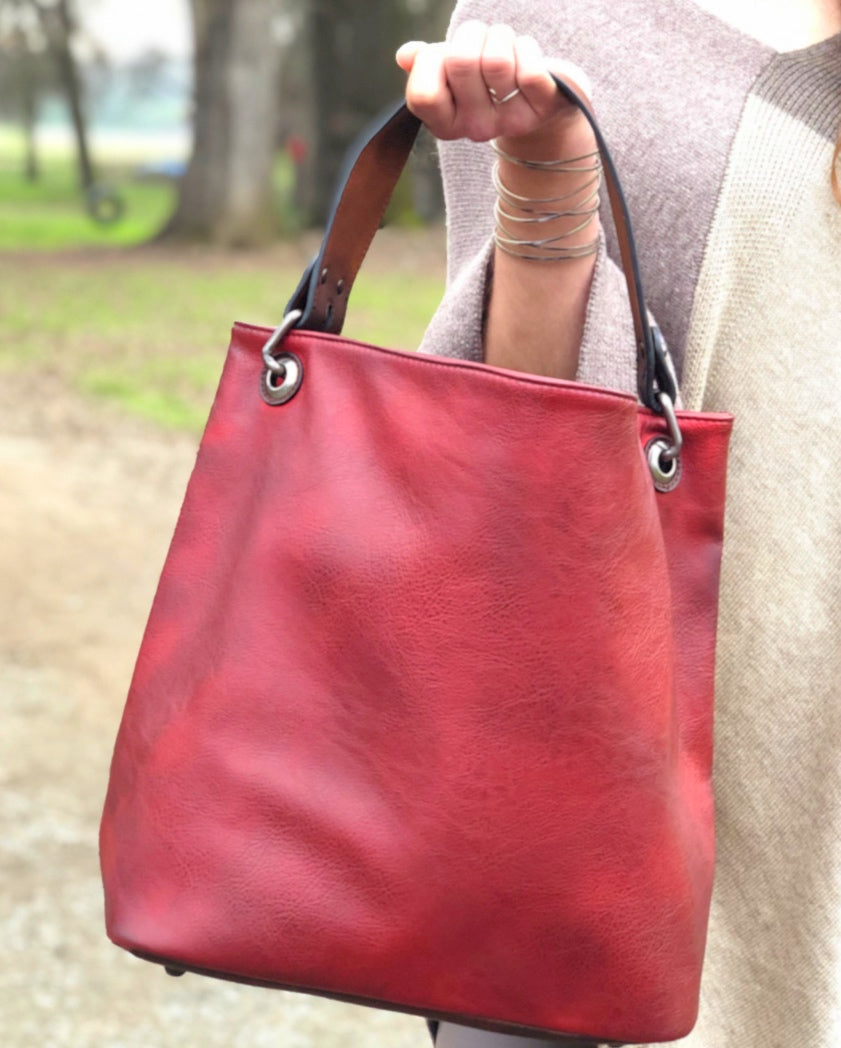 Red Vegan Leather Bag