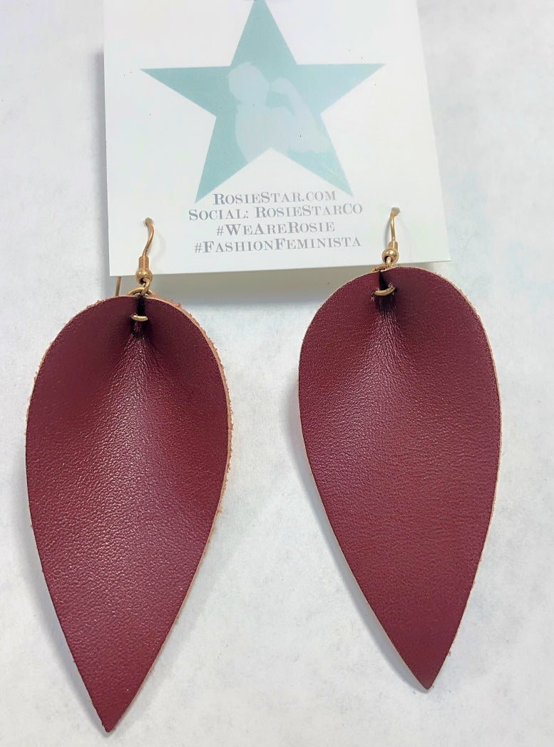 Leather Leaf Earring in Black and Brown