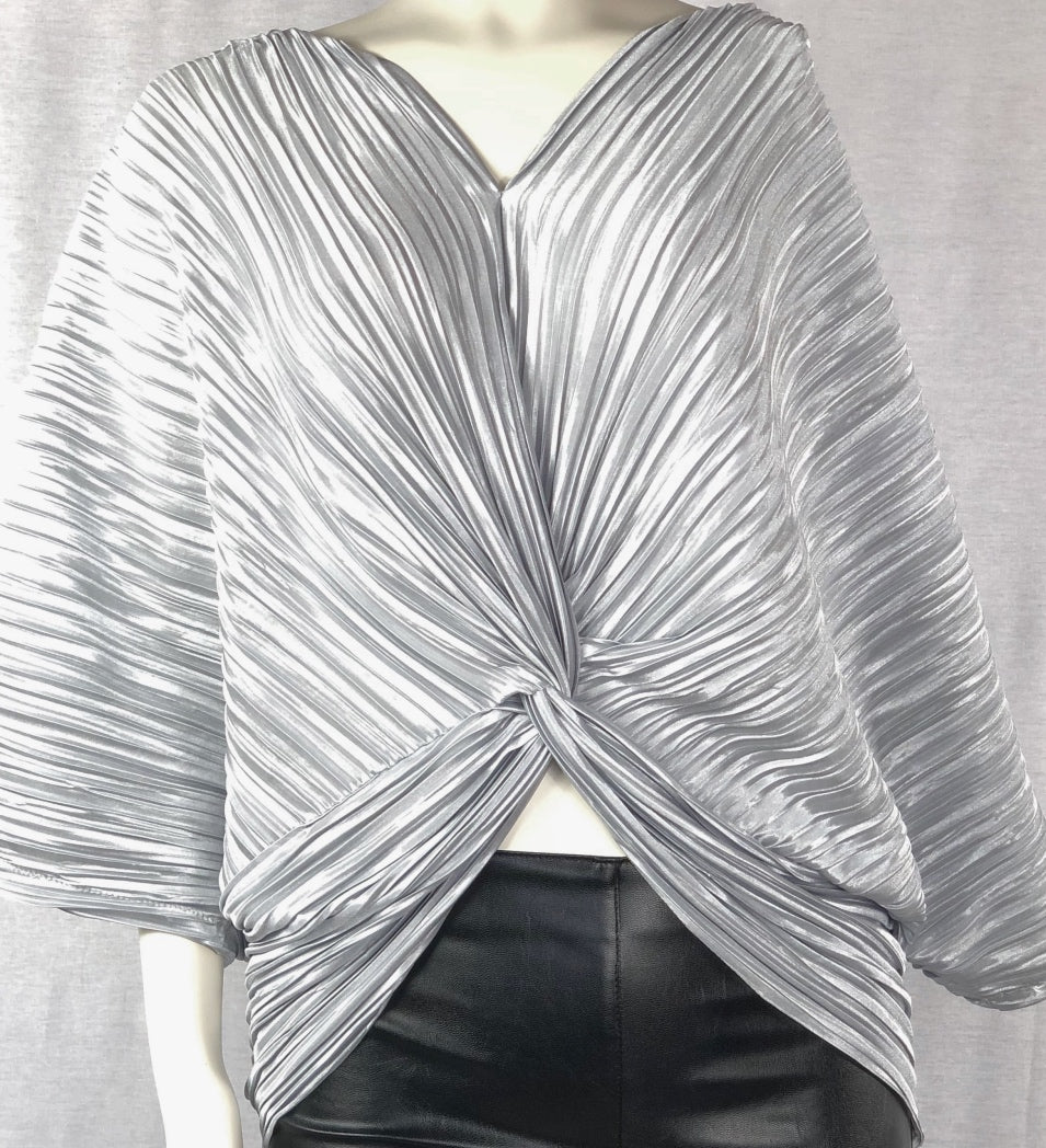 Pleated twist front draped blouse - Perfect Night Out!