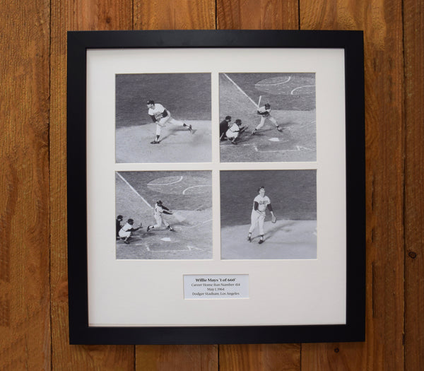 Willie Mays - Sequential In-Motion Photos Career Home Run #414 - Vintage Sports Wall Hanging