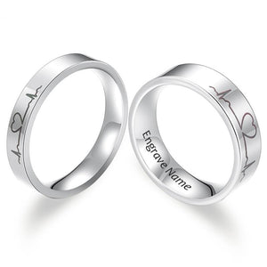 Engrave- Our Heart Beat Couple Rings