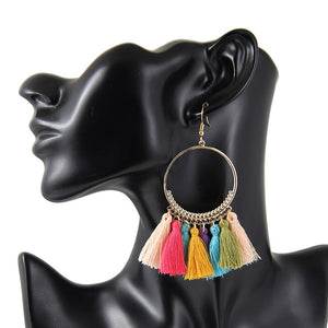Bundle- Hoop Cotton Tassel Earrings