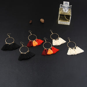 Bundle- Hoop Pom Pom Tassel Earrings