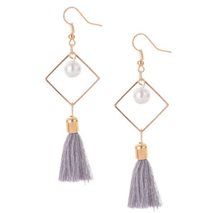 Smokey Grey Pearl Tassel Earrings