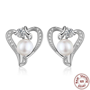 925 Sterling Silver Pearl Heart Stud Earrings