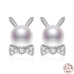 925 Sterling Silver Pearl Bow-Rabbit Stud Earrings