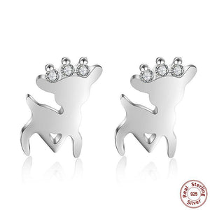 925 Sterling Silver Crown Deer Earrings