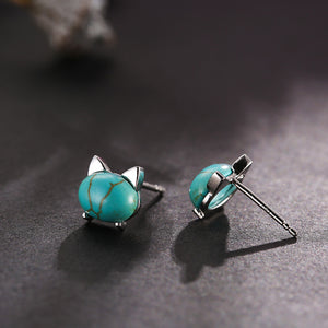 Turquoise Kitty Earrings