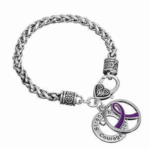 Purple Ribbon Charm Bracelet