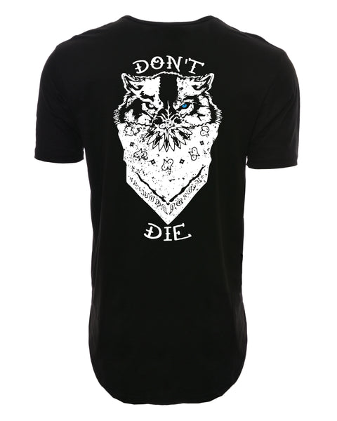 Don't Die Elongated Shirt w/ Bandit Logo on front - Black