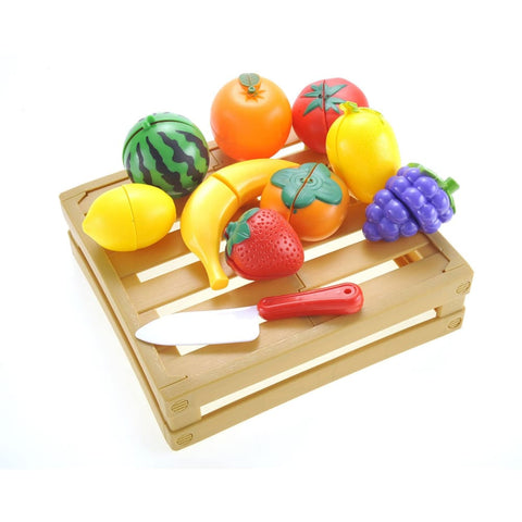 Kitchen Cutting Fruits Crate Pretend Food Playset