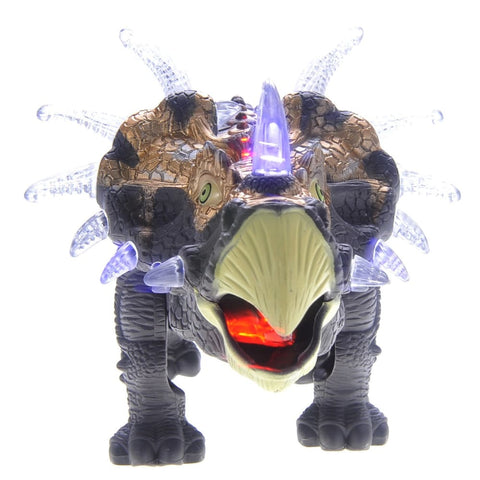 Walking Triceratops Dinosaur Toy With Lights And Sounds (Gray)