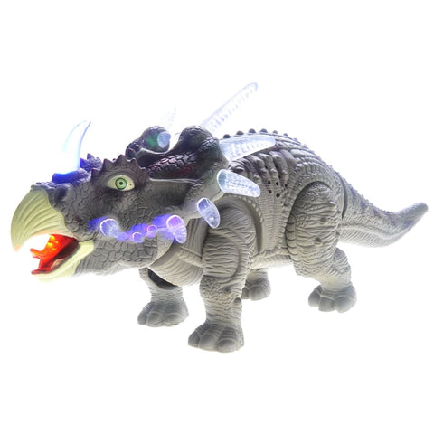 Walking Triceratops Dinosaur Toy With Lights And Sounds (Green)